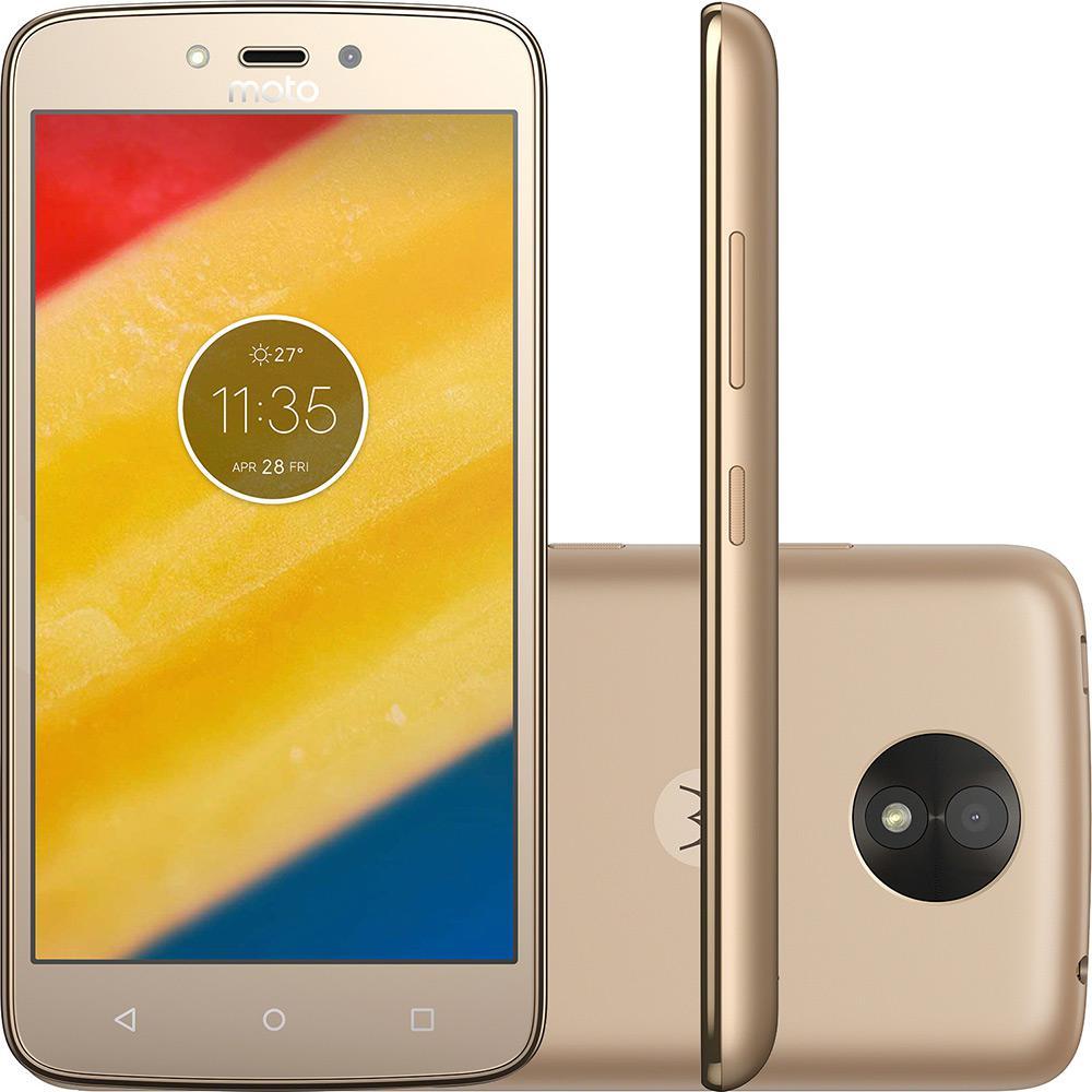 Smartphone Motorola Moto C Plus XT1726 Ouro Dual Chip Android 7.0 Nougat Tela 5 ´ Memoria 8GB Tela 5 ´ 4G Camera 8MP