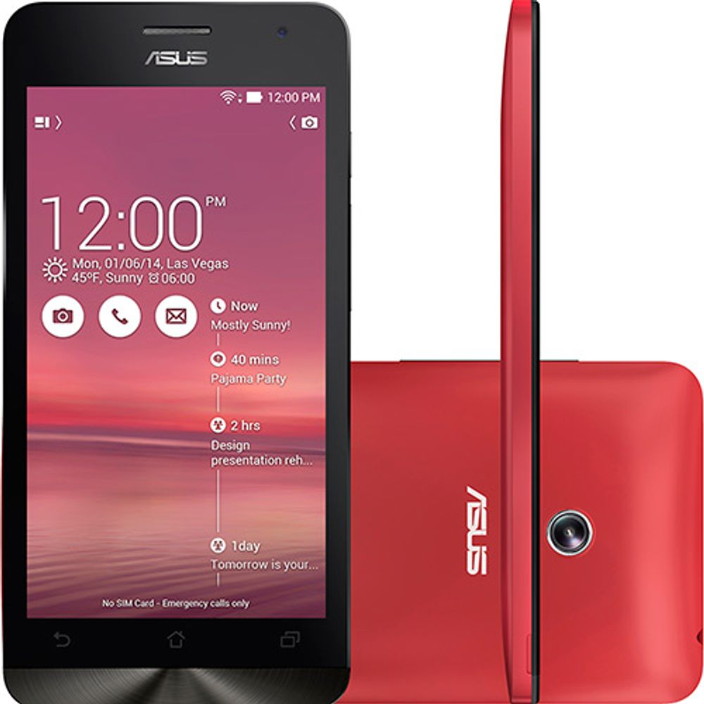 Smartphone Asus A501CG Zenfone 5 Red 16GB - SMARTPHONE ASUS A501CG ZENFONE 5 RED 16GB 5 ´ Tela HD IPS PROCESSADOR INTEL DUAL CORE 1,6 GHz Android 4.3