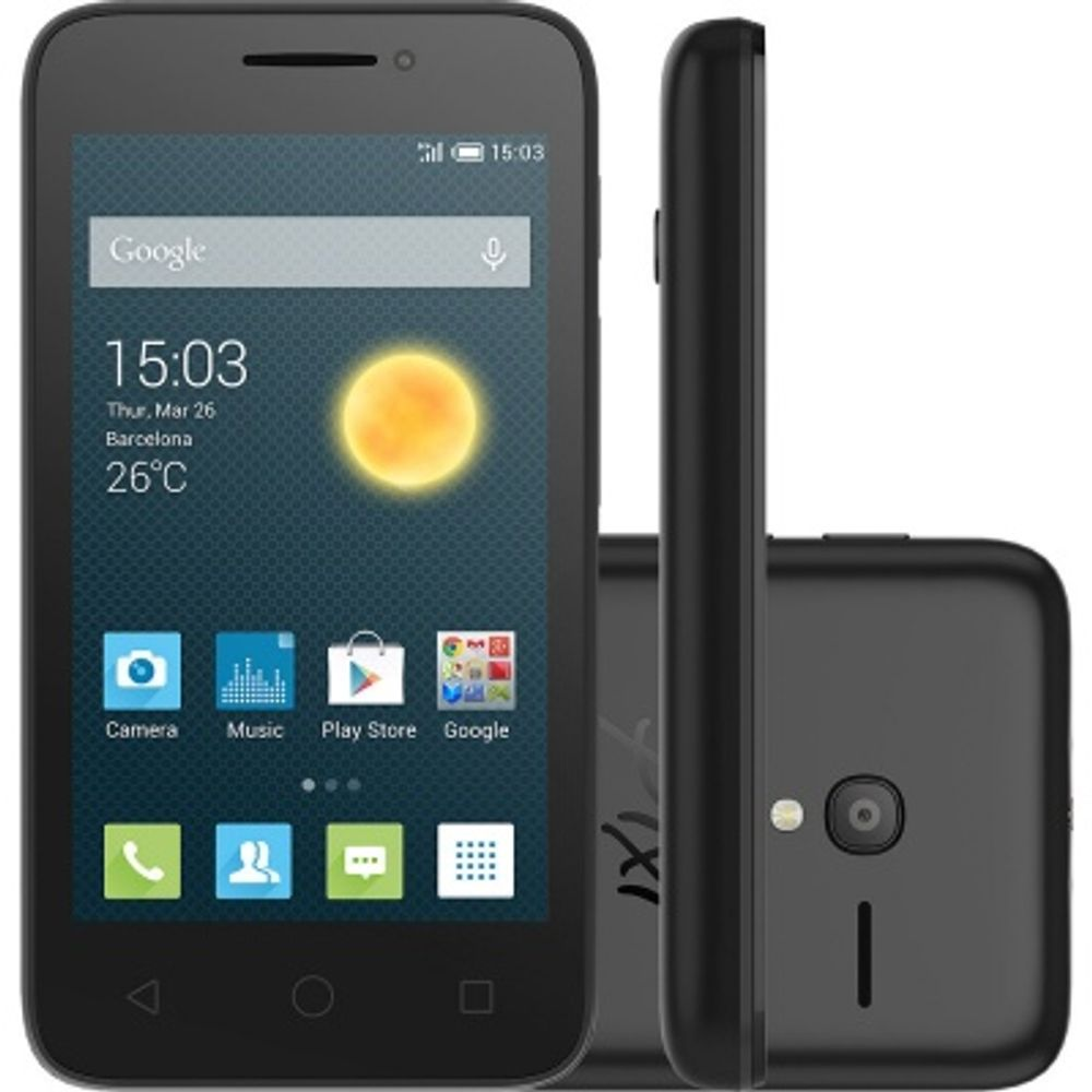 Smartphone Desbloqueado OneTouch Pixi3 Preto - Smartphone Alcatel OneTouch Pixi3 Preto com Tela 4, Dual Chip, Câmera 8MP, Android 4.4, 3G, Bluetooth e Processador Dual Core de 1.0GHz