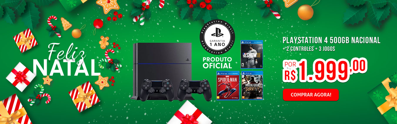 PLAYSTATION 4 500GB NACIONAL + 2 CONTROLES + 3 JOGOS