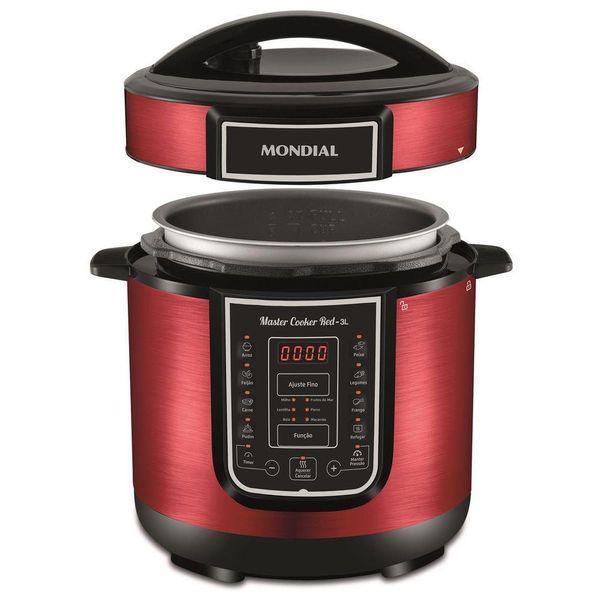 Panela-de-Pressao-Eletrica-Mondial-Master-Cooker-Vermelha-3L-127V